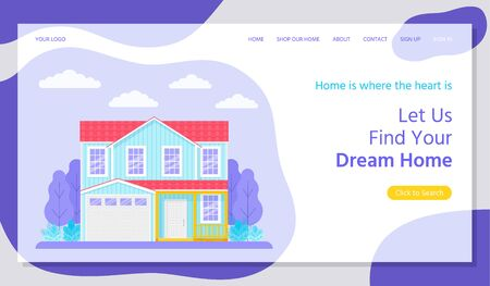 Real estate landing page. Vector. Find dream home, investment property concept. Buying, rent house web page template. House with garden.  Flat design. Horizontal banner. Colorful Illustration.
