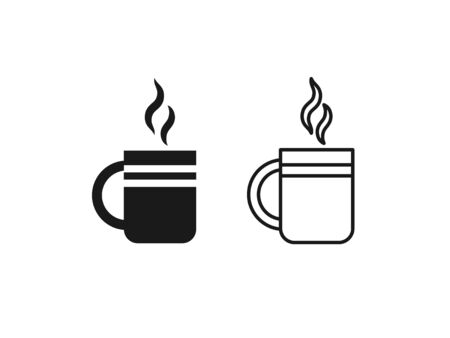 Cup of tea icon. Vector in simple flat design, outline. Teacup with steam isolated on white background. Mug of coffee. Illustration for graphic, web, app, UI. Clay tableware. Ilustração