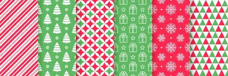 Christmas seamless pattern. Xmas New year background. Vector. Festive texture with candy cane stripes, tree, snowflake, star, triangle. Print for wrapping paper, web, textile. Red green illustration