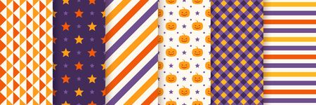 Halloween seamless pattern. Haloween textile print. Vector. Geometric background with pumpkin face, triangle, star, stripes, checkered. Wrapping paper. Orange yellow purple texture. Illustration