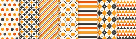 Halloween pattern. Seamless Haloween background. Vector. Texture with pumpkin face, triangle, polka dot, stripes, rhombus. Geometric wrapping paper, textile print. Orange yellow black. Illustration