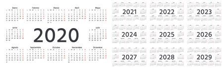 Calendar Spanish 2020, 2021, 2022, 2023, 2024, 2025, 2026, 2027, 2028, 2029 years. Vector. Week starts Monday. Stationery calender template. Landscape orientation. Yearly organizer in minimal design