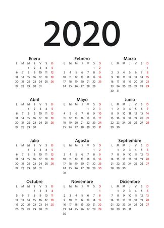 Spanish Calendar 2020 year. Week starts Monday. Vector. Spain calender template. Yearly stationery organizer in minimal design. Vertical portrait orientation. Banco de Imagens - 130229454