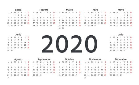 Spanish Calendar 2020 year. Week starts Monday. Vector illustration. Spain calender template. Yearly stationery organizer in minimal design. Horizontal, landscape orientation. Modern date grid. Illusztráció