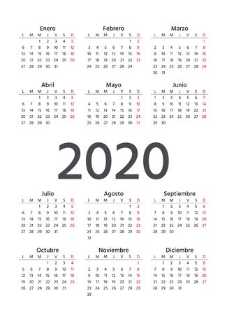 Spanish Calendar 2020 year. Vector. Week starts Monday. Spain calender template. Yearly stationery organizer in minimal design. Vertical portrait orientation.