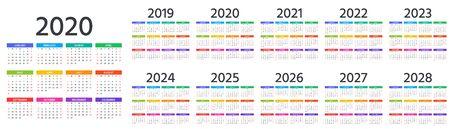 Calendrier 2020, 2019, 2021, 2022, 2023, 2024, 2025, 2026, 2027 ans. Vecteur. La semaine commence dimanche. Disposition du calendrier. Modèle de papeterie. Organisateur annuel au design minimal, anglais. Vecteurs