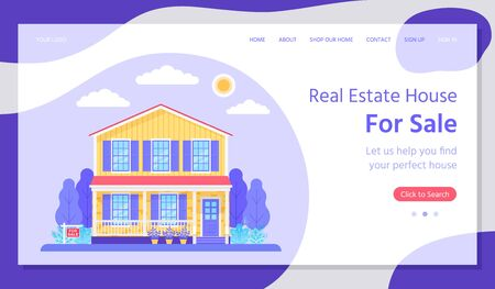 Sale house landing page. Vector. Real estate. Buy or rent house web page template. Home with garden in flat design. Investment property concept. Colorful Illustration. Horizontal banner.