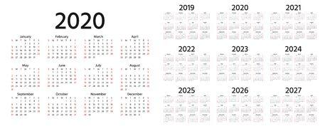 Calendrier 2020, 2019, 2021, 2022, 2023, 2024, 2025, 2026, 2027 ans. Vecteur. La semaine commence dimanche. Modèle de papeterie au design minimaliste. Organisateur de calendrier annuel pendant des semaines. Orientation paysage.