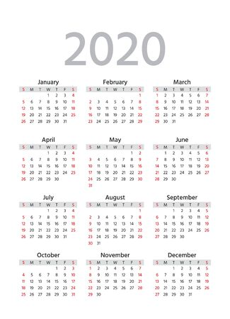 Calendar 2020 year. Vector. Week starts Sunday. Pocket calender layout. Yearly organizer. Stationery template. in minimal design. Portrait orientation, English.