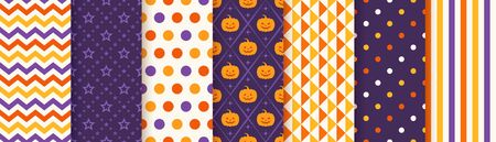 Halloween pattern. Seamless Haloween background. Vector. Texture with zigzag, star, pumpkin, polka dot, triangle, stripe. Geometric wrapping paper, textile print. Orange yellow purple. Illustration