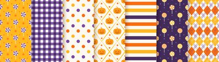 Halloween pattern. Seamless Haloween background. Vector. Textile print with pumpkin, candy, polka dot, rhombus, stripe. Geometric texture, wrapping paper. Orange yellow purple Illustration