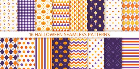 Seamless pattern. Halloween background. Vector. Haloween texture with pumpkin, candy, polka dot, star, stripe, zigzag. Geometric endless wrapping paper textile print. Orange yellow purple Illustration Ilustração