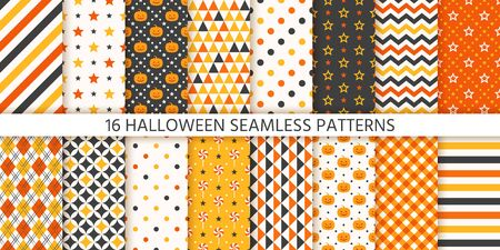 Halloween pattern. Seamless Haloween texture. Vector. Background with pumpkin, polka dot, triangle, star stripe rhombus. Geometric wrapping paper. Retro textile print. Orange yellow black Illustration Ilustração