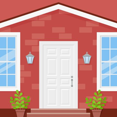 Front door house. Vector. Porch of building. Brick wall facade with white door, potted plants, lanterns  and windows. Home entrance. Modern outside architecture in flat design. Cartoon illustration