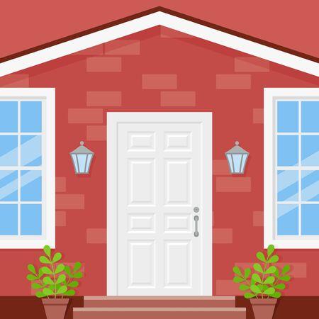 Maison porte d'entrée. Vecteur. Porche du bâtiment. Façade de mur de briques avec porte blanche, plantes en pot, lanternes et fenêtres. Entrée de la maison. Architecture extérieure moderne au design plat. Illustration de dessin animé Vecteurs