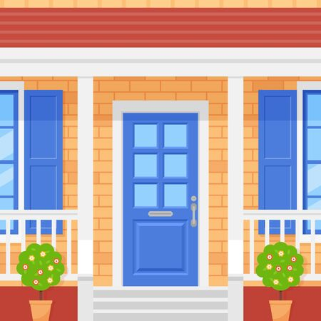 Front door house. Home porch. Vector. Facade with brick wall, blue door, topiary and windows. Building entrance, doorstep with stairs. Modern outside architecture in flat design. Cartoon illustration