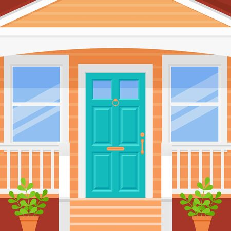 Front door house. Porch with turquoise door and windows. Vector. Home facade exterior. Building entrance, doorstep with stairs. Modern outside architecture in flat design. Cartoon illustration.