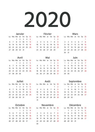 2020 French Calendar. Vector. Week starts Monday. 2020 year France calender template. Yearly stationery organizer in minimal design. Vertical portrait orientation.
