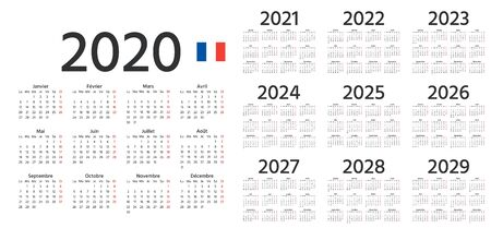 French Calendar 2020, 2021, 2022, 2023, 2024, 2025, 2026, 2027, 2028, 2029 years. Vector. Week starts Monday. France calender template. Yearly stationery organizer in minimal design.