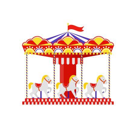Carousel horse. Merry go round. Vector. Vintage amusement park carrousel. Funfair ride flat icon, isolated on white background. Cartoon illustration. Swinging playground. Çizim