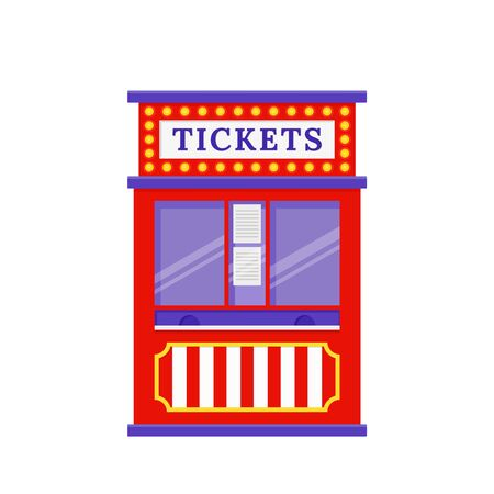 Ticket booth. Vector. Circus, carnival stand. Fun fair office with windows. Kiosk in amusement park. Ticketbooth icon isolated on white background. Cartoon illustration. Outdoor shop.