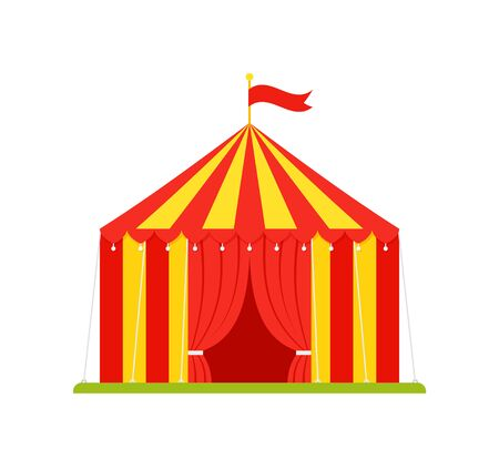 Circus tent. Vector. Carnival marquee with opened entrance, flag. Festival funfair arena. Red yellow traditional cirque. Flat design. Canopy striped isolated on white background. Cartoon illustration Иллюстрация
