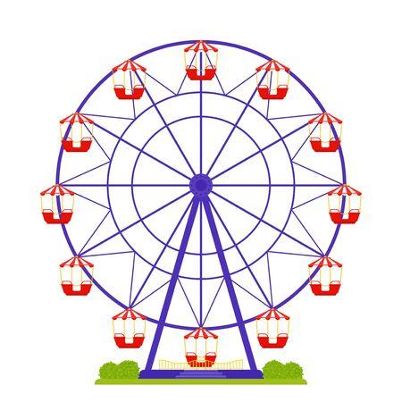Rueda de la fortuna. Vector. Carrusel del parque de atracciones aislado. Gran feria de diversión. Paseo de entretenimiento de carnaval. Cabina de observación. Ilustración colorida de dibujos animados. Atracción de circo rojo púrpura en diseño plano.