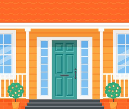 Front door house. Vector. Home porch with door, stairs, windows and plants. Yellow facade. Building entrance, doorstep. Modern outside architecture in flat design. Cartoon illustration Standard-Bild - 132264759