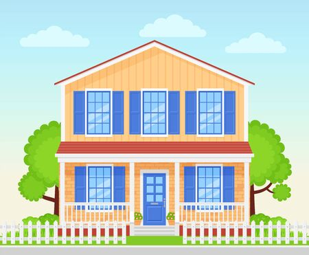 House exterior. Vector. Home facade porch. Front view townhouse building. Modern cottage with roof yard fence. Residential estate. Suburb architecture. Landscape neighborhood Cartoon flat illustration