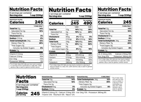 Nutrition facts Label. Vector. Food information with daily value. Package template. Data table ingredients calorie, fat sugar cholesterol. Flat illustration isolated on white background. Layout design  Ilustração
