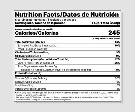 Etiqueta de información nutricional. Vector. Información alimentaria con valor diario. Plantilla de paquete. Tabla de datos ingredientes calorías, grasa, azúcar, colesterol. Etiqueta bilingüe. Ilustración aislada. Plano de diseño