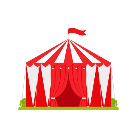 Circus tent. Vector. Carnival marquee. Flat design. Festival red white traditional cirque with opened entrance and flag. Canopy striped arena icon, isolated. Cartoon illustration. Ilustração
