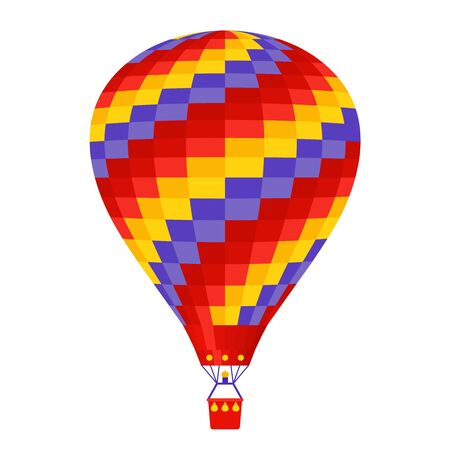 Hot air balloon. Vector. Airship icon isolated on white background. Cartoon flight balloon with basket. Festival, circus entertainment in sky. Colorful adventure ballon. Illustration in flat design.