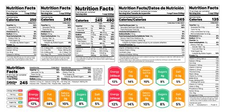 Nutrition facts Label. Vector. Food information with daily value. Data table ingredients calorie, fat, sugar. Package template. Flat illustration isolated on white background. Layout design Ilustração