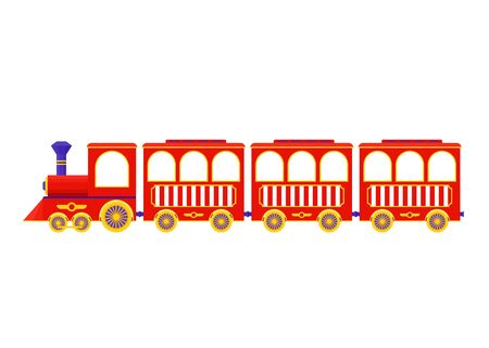Train. Vector. Red locomotive icon. Amusement park vintage attraction, isolated.  Circus, fun fair carnival entertainment. Cartoon illustration on white background. Daytime fairground.