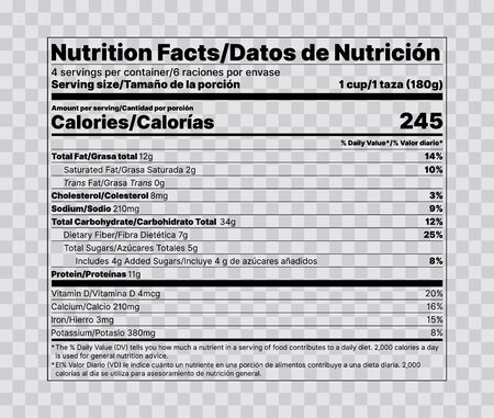 Nutrition facts label. Vector. Food information with daily value. Data table ingredients calorie, fat sugar cholesterol. Bilingual label. Illustration isolated. Packaging layout template. Flat design