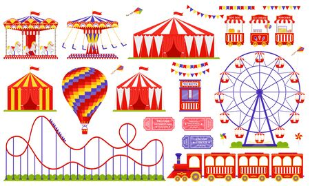 Amusement park, circus, carnival fair theme. Vector. Set with Ferris wheel, tent, carousel, roller coaster, air balloon, train. Icons isolated on white background. Daytime attraction. Illustration Ilustração