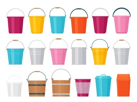 Bucket. Vector. Plastic, metal, wood pail. Icons in flat design isolated on white background. Containers for water, garbage, garden. Cartoon illustration. Set of yellow, blue, red handle basket.