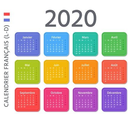French Calendar 2020 year. Vector. Week starts Monday. France calendar annual wall template. Yearly organizer. Horizontal landscape orientation. Colorful design on white background. Ilustração
