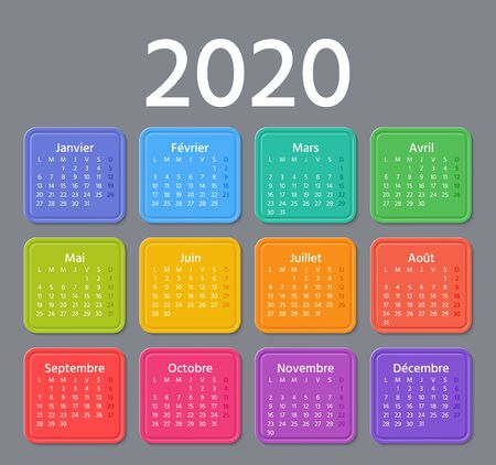 French Calendar 2020 year. Vector. Week starts Monday. France calendar annual wall template. Yearly organizer. Horizontal landscape orientation. Colorful design on dark background.