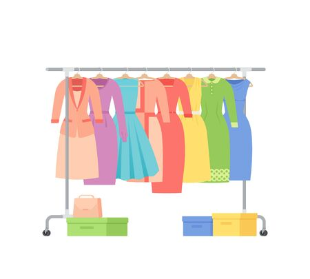 Clothes rack. Vector. Cloth on hangers. Show room. Casual, business women dresses on white background. Flat design. Cartoon illustration. Ilustração