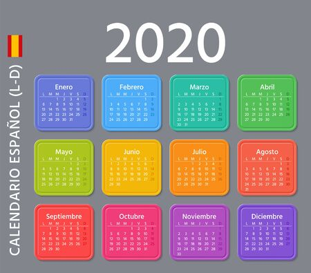 Spanish Calendar 2020 year. Week starts Monday. Vector illustration. Spain calender template. Yearly stationery organizer. Colorful design. Horizontal, landscape orientation. Modern date grid.