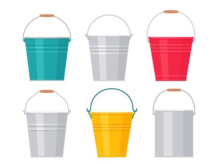 Metal bucket. Vector. Pail icon. Flat design. Steel garden tin, isolated on white background. Cartoon colorful illustration. Set of empty aluminum cans.