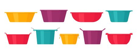 Basin. Vector. Plastic washbowl. Bowl icons in flat design, isolated on white background. Cartoon colorful illustration. Set of containers.