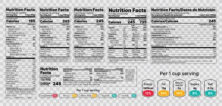 Nutrition facts Label. Vector. Food information with daily value. Data table ingredients calorie, fat, sugar. Package template. Flat illustration isolated on transparent background. Layout design Ilustração