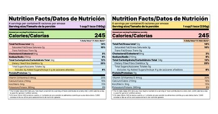 Nutrition facts label. Vector. Food table information with daily value. Bilingual label, American standard. Color layout template packing. Data list ingredients, calories, fat, sugar. Flat illustration Ilustração