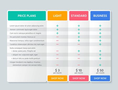 Table price comparison. Vector. Chart plan template. Pricing grid with 3 columns for purchases, business, web services, applications. Checklist compare tariff banner. Color simple design. Illustration