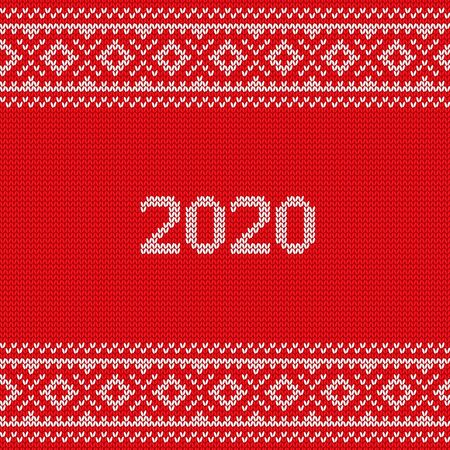 Knit print, 2020 design. Christmas knitting seamless pattern. Vector Xmas and New year red background. Knitted winter texture. Holyday sweater ornaments.