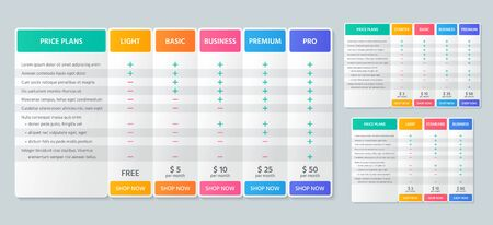 Table price comparison. Vector. Chart plan template. Set pricing grid for purchases, business, web services, applications. Checklist compare tariff banner. Color illustration. Flat simple design.