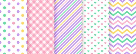 Scrapbook seamless pattern. Vector. Scrap backgrounds. Set cute texture with hearts, stripes, polka dot, zig zag, check. Chic trendy print. Modern packing paper. Pastel illustration. Color backdrop Ilustração